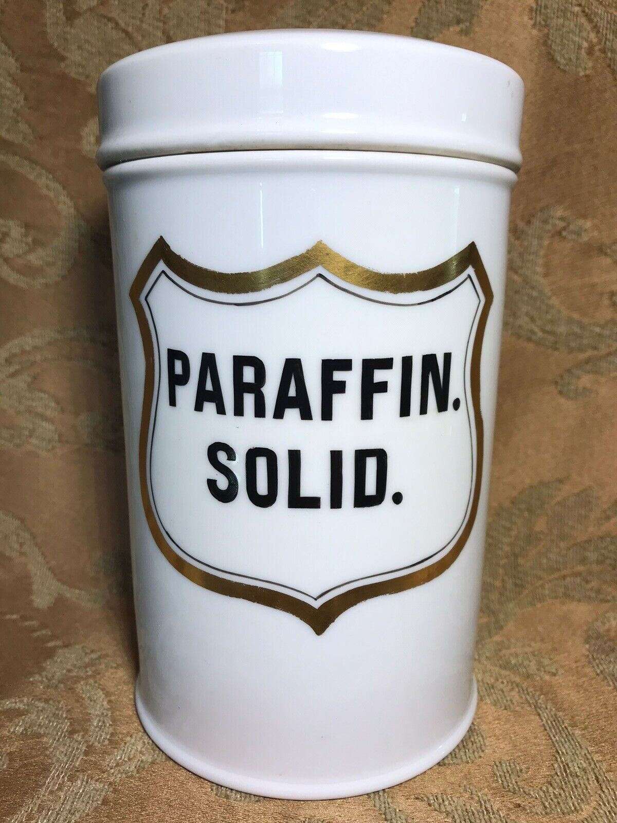 7 GERMAN Apothecary Porcelain Ointment Jar With Lid Label PARAFFIN. SOLID.  - $35.00