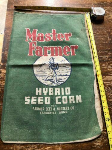 GRAPHIC Vintage MASTER FARMER Hybrid Seed Corn Cloth Farm Sack OLD Graphic