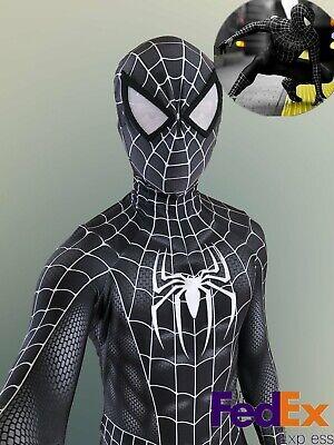 Amazing Spiderman 2 Costume (The Amazing 2 Spiderman Black Venom Tights Lycra Zentai Suit Cosplay Costumes)