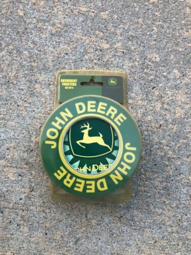 John Deere  4 Stone & Cork Absorbent Coasters -  NEW OLD STOCK   Tin cONTAINER