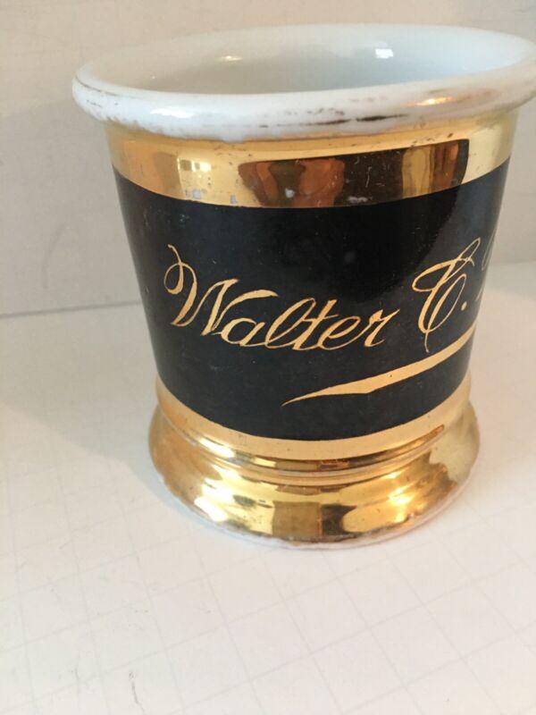 ANTIQUE SHAVING MUG w/ GOLD NAME & DECORATION * WALTER C. WRIGHT