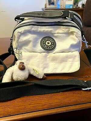 "Vintage Kipling Multi Strap Purse convert to Backpack Retro 90's White ""Dreamy"""
