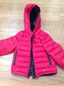 Thin red down coat
