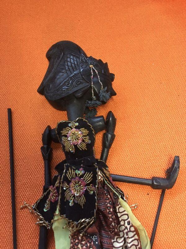 Vintage Wayang Doll Indonesian Wood Puppet Golek Asian Javanese Carved Asian Art