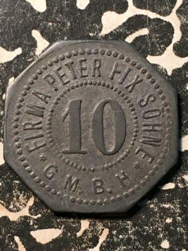 U/D Duisburg Germany Peter Fix 10 Pf. Private Notgeld Token (1 Coin Only)