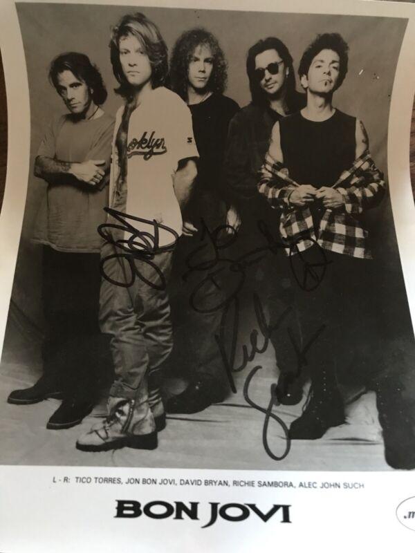 "Bon Jovi Dual Hand Signed Jon Bon Jovi & Ritchie Sambora Press Photo 1993 ""David"