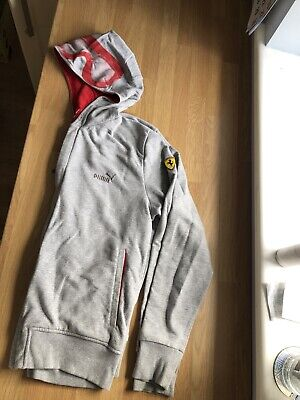Mens PUMA Ferrari Grey Hoodie Zipped jacket Size M F1 Logo