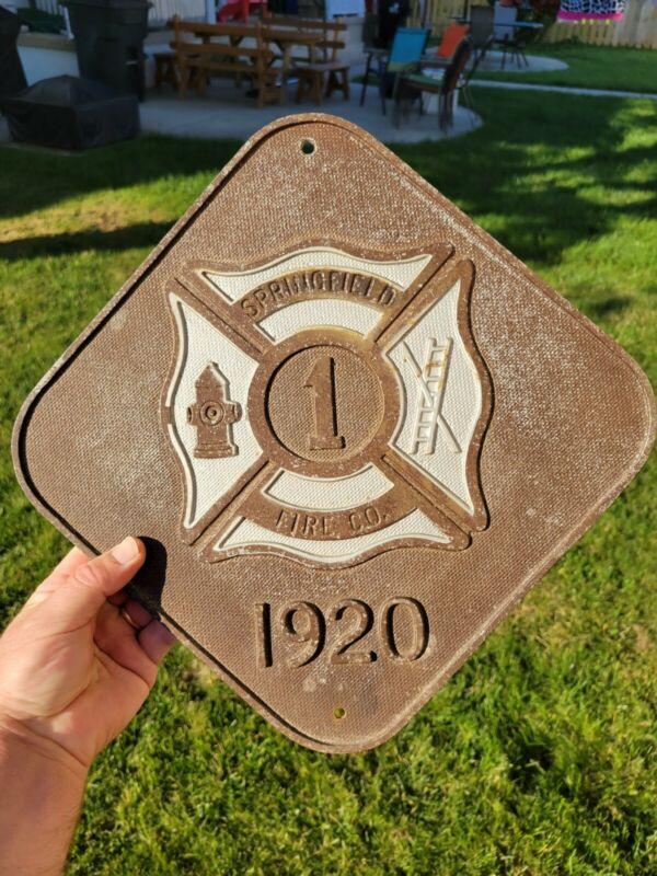 Old Vintage Springfield fire department 1920 marker badge plaque sign