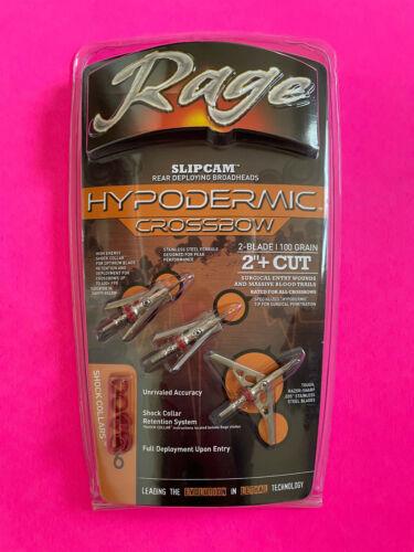 "Rage Crossbow Hypodermic Broadheads 100 Grain 2"" Cut Slipcam OLD MODEL 2016-17"