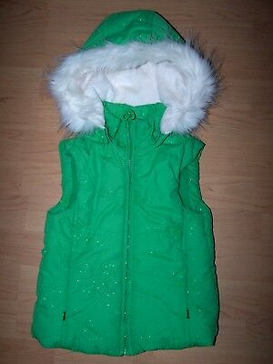 The CHILDRENS PLACE Toddler Girl Winter Hooded Green Sparkle Puffer Vest Size4XS