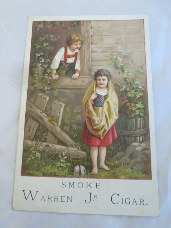 1800s Victorian Trade Card Smoke Warren Juniors Cigar Chidren
