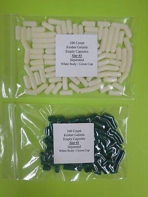 100 Empty Gelatin Capsules Size 1 Gel Caps Kosher (Separated)  **BACK IN STOCK** (Gelatin 100 Capsules)
