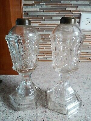 Pair Vintage 19th C. Star & Punty Sandwich Glass Whale Oil Lamp LOOK!
