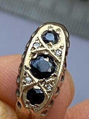 Hallmarked 375  9k Sapphire Diamonds Gold Ring -Uk Size T