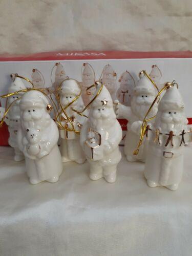 Mikasa Porcelain Santa Ornaments 24k Gold Christmas 6 Pc. Set Holiday Splendor