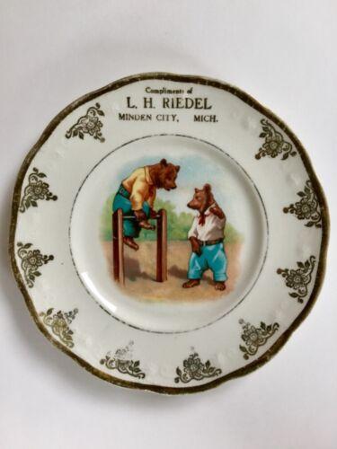 Rare Antique Advertising Plate Minden City, MI Roosevelt Bears L. H. Riedel
