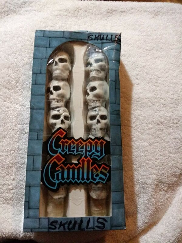 Creepy Candles Skulls White Tapered Forum Novelties 1996