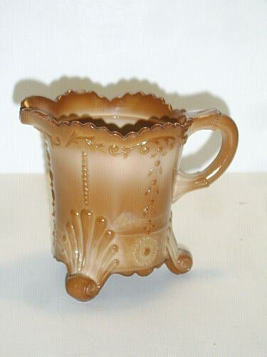 "GREENTOWN INDIANA TUMBLER & GOBLET CHOCOLATE GLASS DAISY 4"" CREAMER  ****"