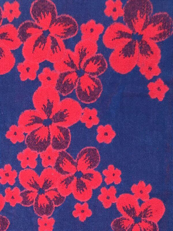 Vintage MCM 3 Pc. Towel Set - 1 Bath, 1 Hand, 1 Washcloth RED BLUE Flowers