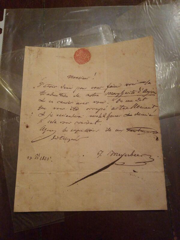 Rare 1825 ALS! Vintage Opera Composer Giacomo Meyerbeer Letter w/ Seal