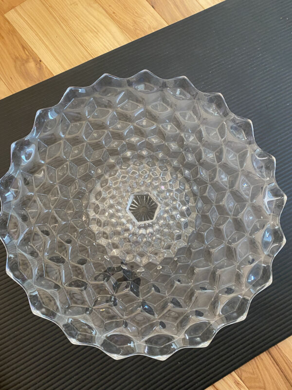 "Fostoria American Clear 16"" Round Cake Plate Serving Platter Raised Pedestal"