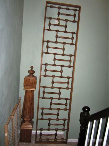 HUGE! Tiger Oak Architectural Salvage Fretwork Victorian Stick & Ball Panel Rail