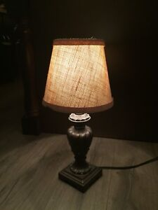 Small lamp with burlap shade