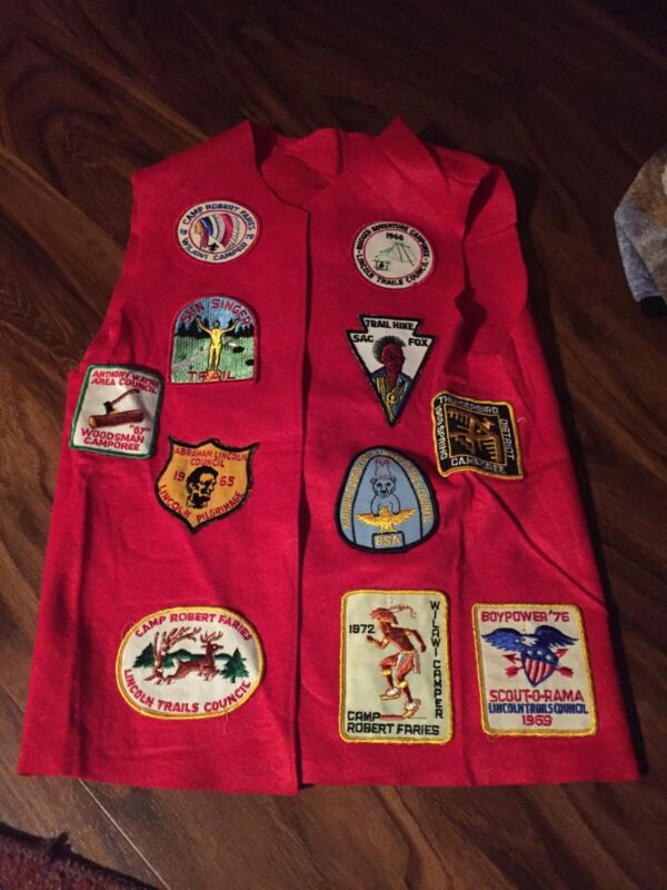 1960's Boys Out Of America Red Vest  With Patches