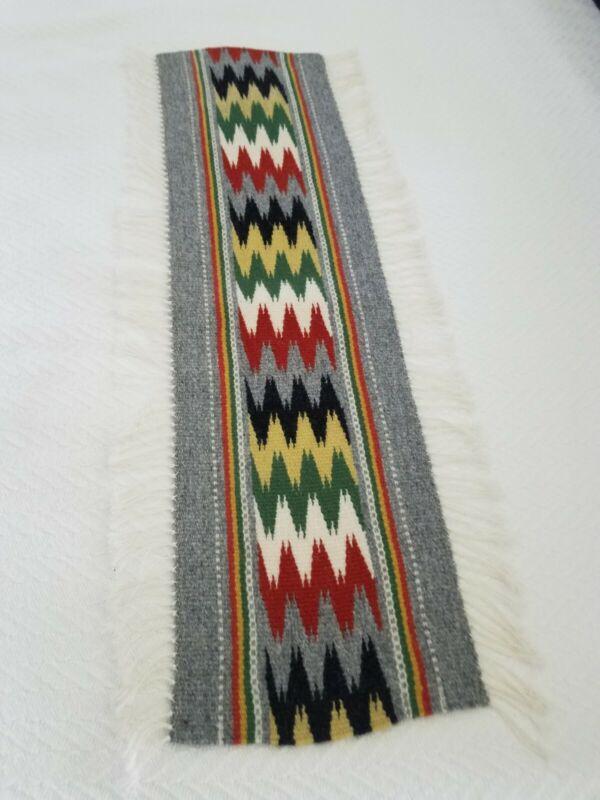 Vintage Handwoven Wool Table Runner Norway  31.5 Inches Long Wonderful