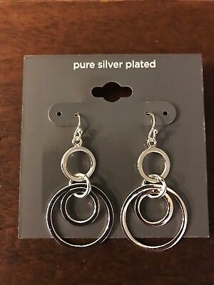 Pure Silver Plated Dangle Fish Hook Women's Earrings Original Price $ 12.00