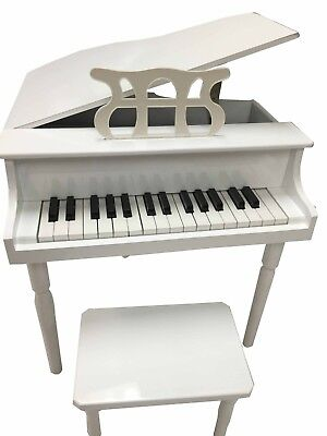 NEW CHILD'S PIANO BABY GRAND KIDS W/BENCH TOY (WHITE)