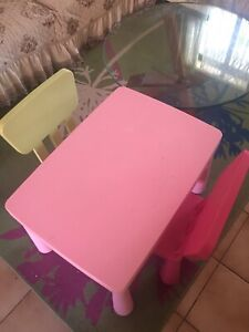 Ikea mammut kids table 2 chairs pink / lime