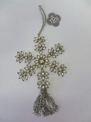 TRS The Royal Standard Snowflake Ornament 40269 Silver w Beaded Tassel 10