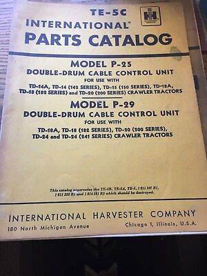 International Harvester TE-5C model P-25 & P-29 parts catalog double-drums for sale  Wellton