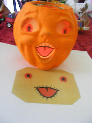 REPLACEMENT FACE FOR  HALLOWEEN PAPER MACHE JACK-O-LANTERN PUMPKIN NEW 'SMALL' - Pumpkin Faces For Halloween