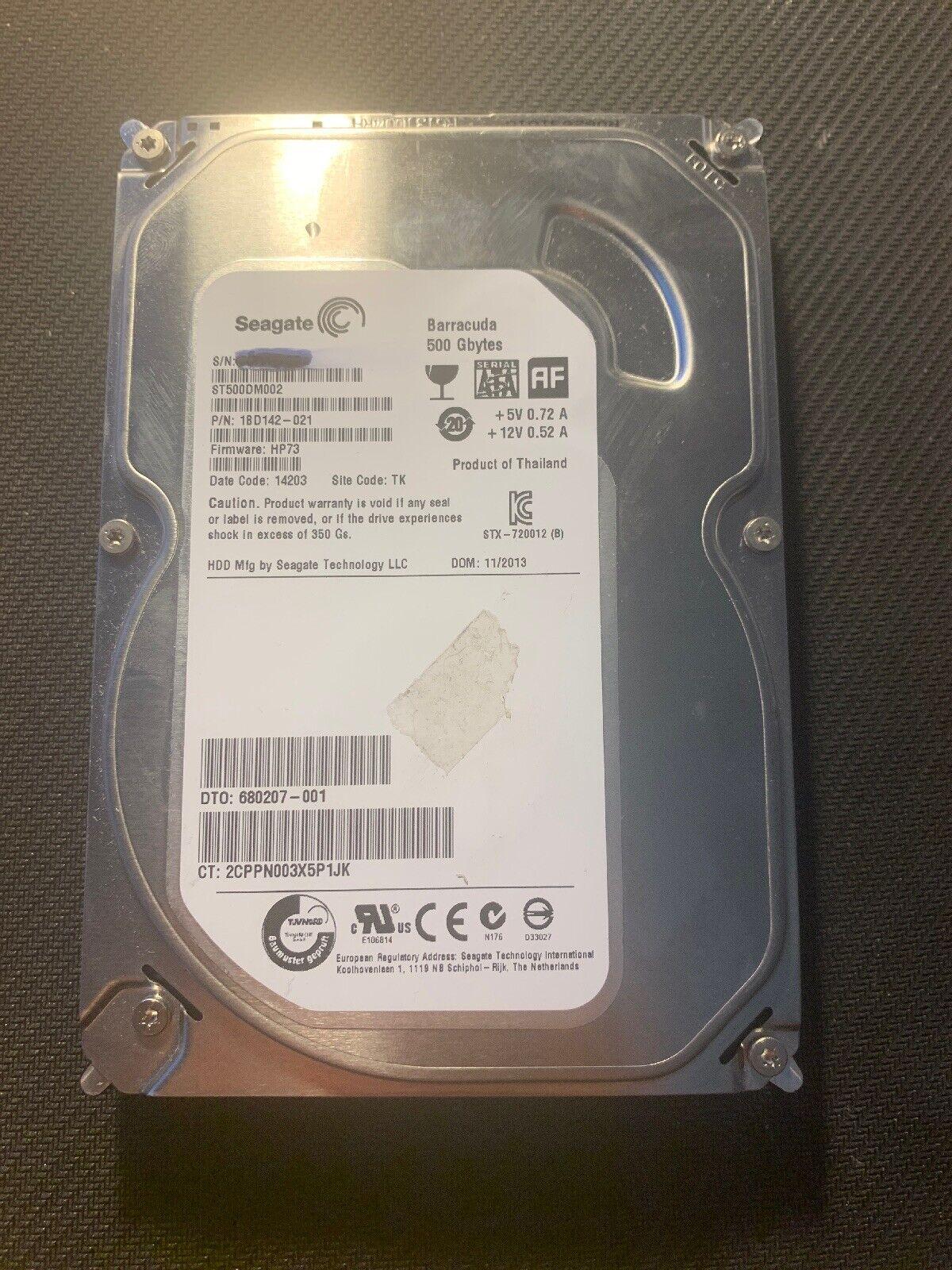 """Lot of 5 Seagate Barracuda ST500DM002 500GB 16MB SATA 3.5/"""" Hard Drives HDD Wiped"""