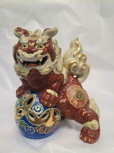 "VTG Foo Dog Signed Marked Gold Gilt Hand painted 5"" tall"