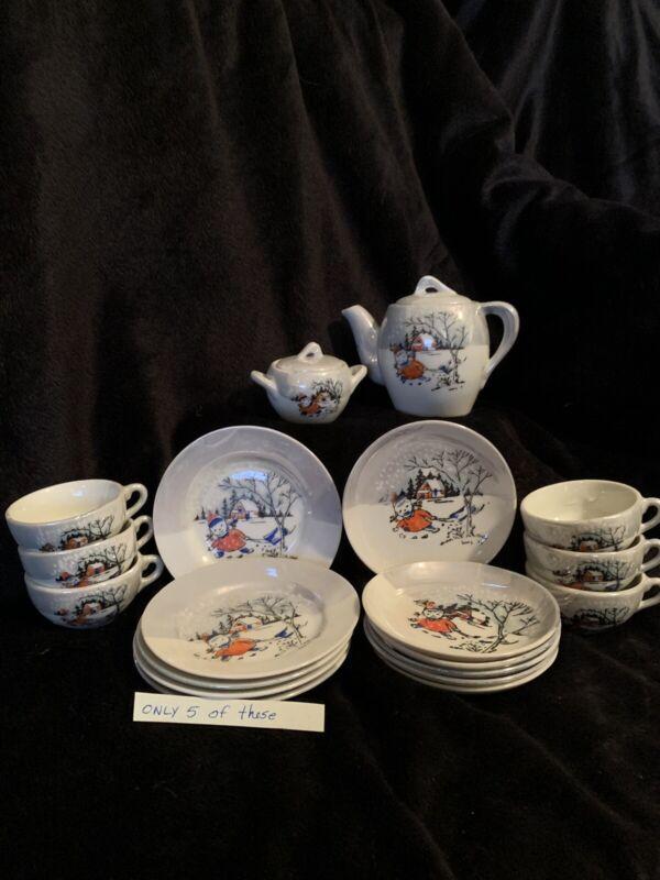 Vintage childs porcelain tea set - holiday theme