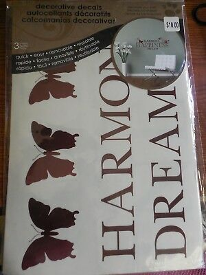 HARMONY, HAPPINESS, DREAM WALL DECAL BRAND NEW IN PACKAGE