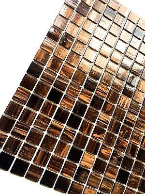 (3/4 x 3/4 Copper Gold Glimmer Glass Mosaic Wall Tile Backsplash Kitchen Bath)