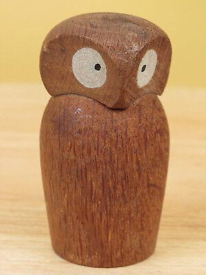 Vintage Owl Figurine Hand Carved Wood Miniature Bird MCM Mid Century Modern R