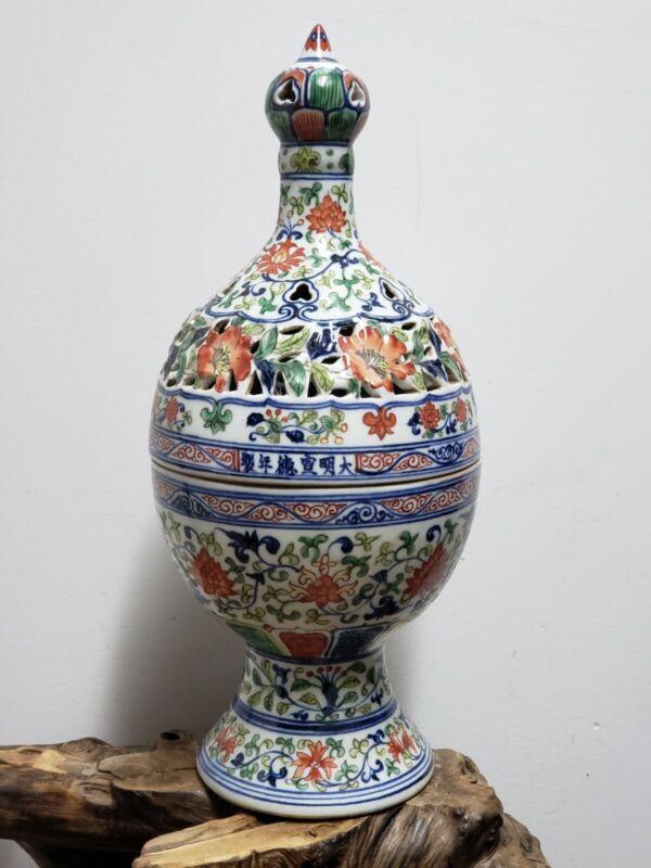 Large Chinese Porcelain Carving DOUCAI Incense Burner