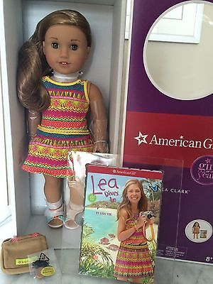"American Girl of the Year Lea Clark 18"" Doll Book Compass Necklace Bag New NIB!!"