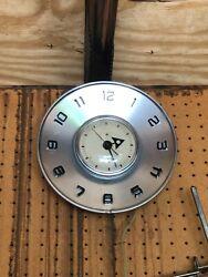 Vintage Wall Clock, Retro Look. Brushed Aluminum Finish