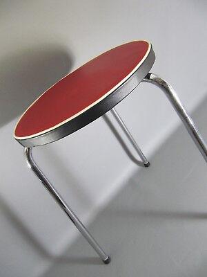 Vintage 50s 60s Dreibein Hocker tripod mit Vinyl Sitzfläche Rockabilly Ära