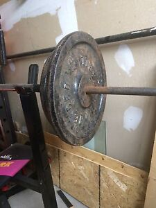Must be gone today Many plates Weights for sale
