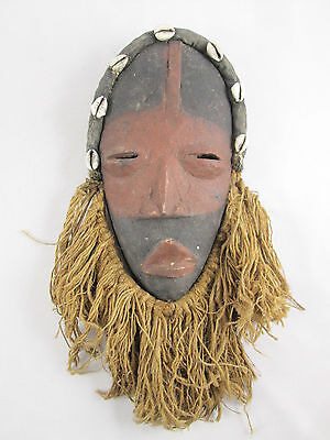 Authentic Vintage African Dan Tribal African Mask with Cowry Shells & Beard