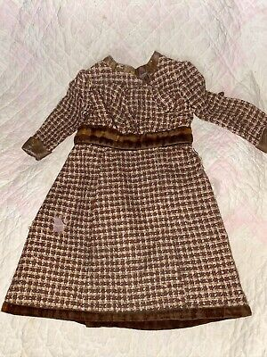Antique Brown Gingham Wool And Velvet Lined Early Doll Dress