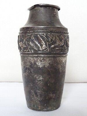 Antike Vase Jugendstil 1900 Metall Schwalben Eisen Vögel Metallvase alt Blumen
