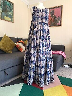 Monsoon Vintage Indian Cotton Padded Bodice Maxi Dress Kantha Stitching Size 16